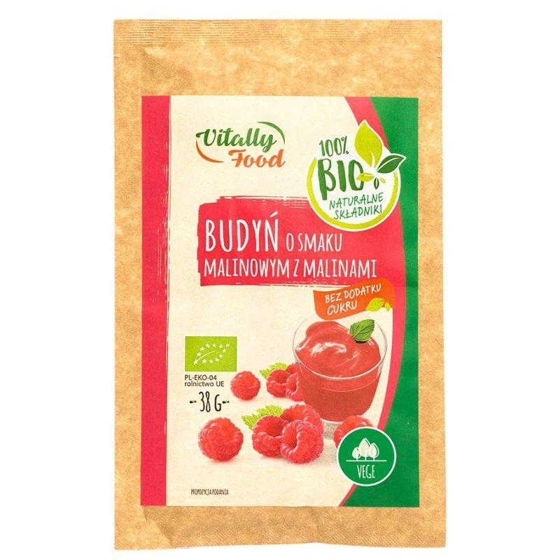Budyń o smaku malinowym z malinami bez dodatku cukru Vitally Food BIO, 38g