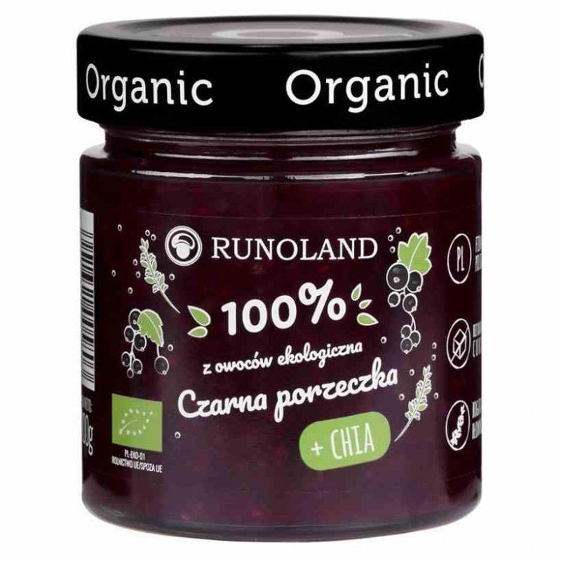 Czarna porzeczka + chia 100% owoców o konsystencji konfitury Runoland BIO, 200g