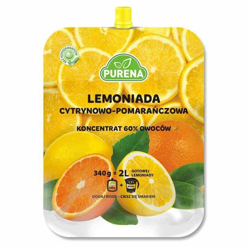 Lemoniada cytrynowo - pomarańczowa, koncentrat Purena, 340g