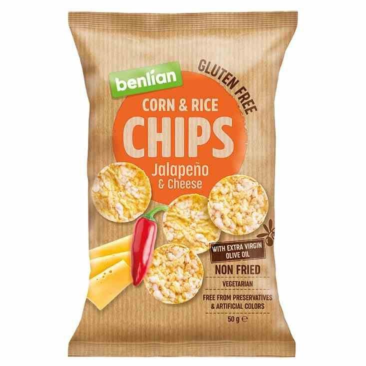 Chipsy kukurydziano-ryżowe - papryka jalapeno i ser Benlian, 50g
