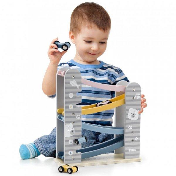 VIGA Kolorowa Drewniana Zjeżdżalnia Dla Samochodzików PolarB