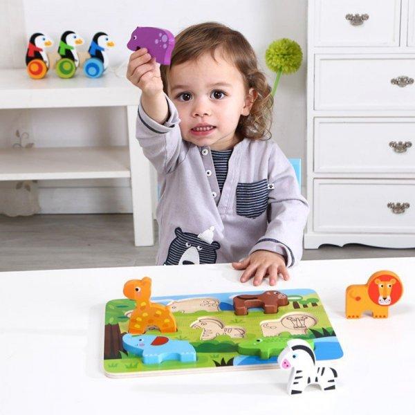 TOOKY TOY Grube Puzzle 3D Zwierzęta Dopasuj Kształty Układanka