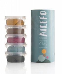 Ailefo, Organiczna Ciastolina, duża tuba, 5 kolorów po 160g