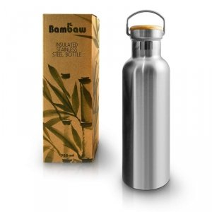 BAMBAW, Butelka termiczna ze stali nierdzewnej z bambusową nakretką, 750ml