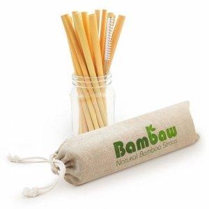 BAMBAW, Ekologiczne słomki bambusowe wraz ze szczoteczką do czyszczenia, 22 cm x 12 szt.