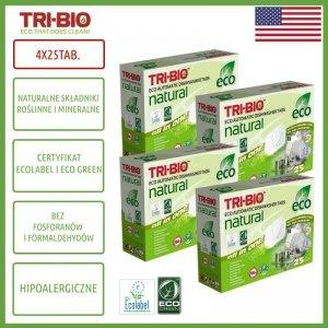 TRI-BIO, Ekologiczne tabletki do zmywarki All in One, 25 szt. - 4 opakowania, 100 tabletek
