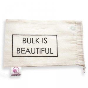 Bag-again, Worek z organicznej bawełny z nadrukiem BULK IS BEAUTIFUL, 15 x 25 cm