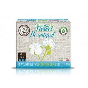 Podpaski NA NOC ze skrzydełkami niebielone chlorem z CERTYFIKOWANEJ bawełny organicznej 10 sztuk