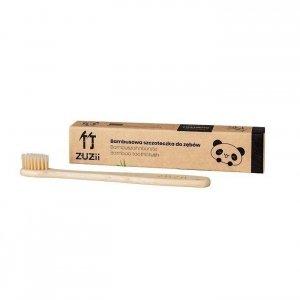 Naturalna, wegańska szczoteczka do zębów dla dzieci bambusowa SOFT beżowa