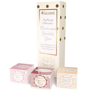 Nacomi - Kremy Arganowe zestaw krem pod oczy 15ml + krem arganowy na dzień z witaminą E 30+ 50ml + krem arganowy na noc z kwasem hialuronowym 30+ 50ml