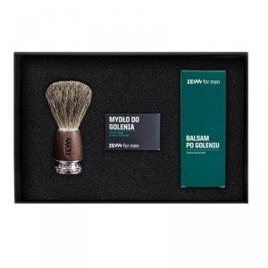 Zew for men - Gładki Golibroda zestaw mydło do golenia z węglem drzewnym 85ml + balsam po goleniu z czarną hubą 80ml + pędzel do golenia