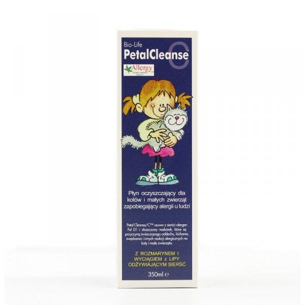 BIOLIFE PETAL CLEANSE C Płyn oczyszczający dla kotów i małych zwierząt, zapobiegający alergii u ludzi, 350ml