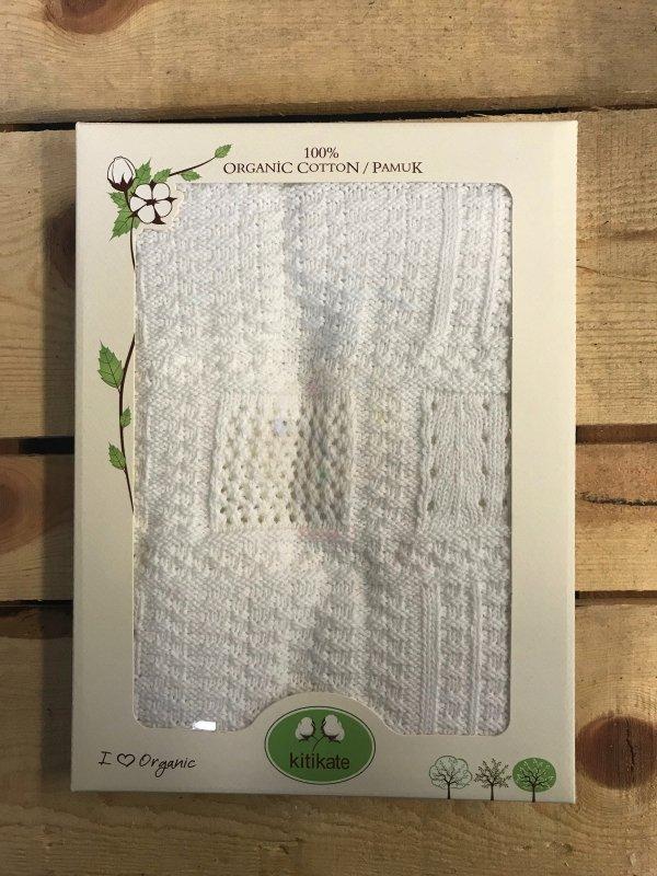 Kitikate, Kocyk Tkany z Bawełny Organicznej, 75x75cm, Frame, White