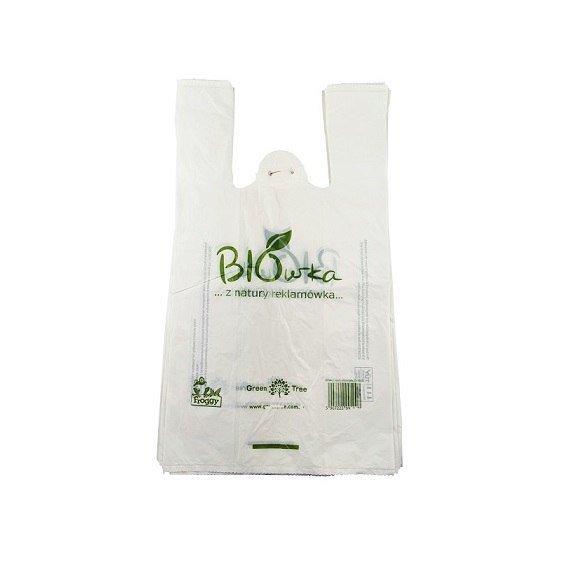 Worki sklepowe Torba Reklamówki ze skrobi kukurydzianej Biodegradowalne i Kompostowalne 40cm, BIÓWKA op./80sztuk