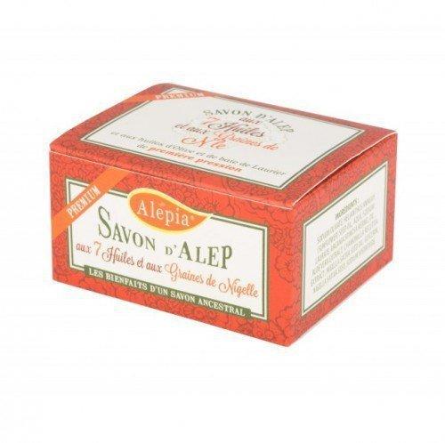 ALEPIA Mydło d'Aleppo Premium z 7 Olejami z Dodatkiem ziaren Nigella 125 g