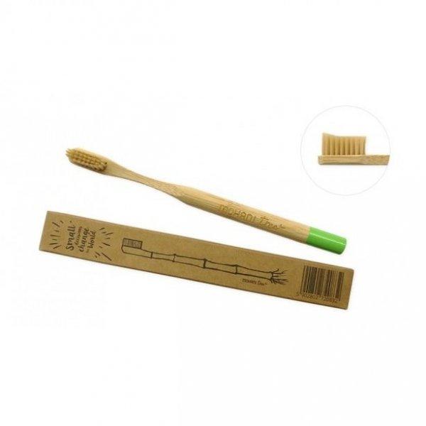 MOHANI Bambusowa szczoteczka do zębów włosie miękkie profilowane ZIELONA