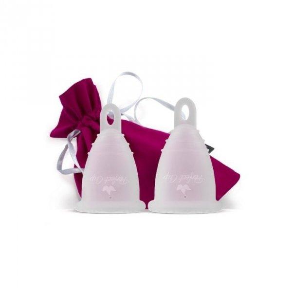 PERFECT CUP Polski kubeczek menstruacyjny z pętelką TRANSPARENTNY Zero Waste ZESTAW S + M