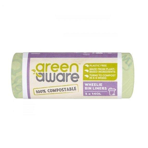 GREEN AWARE Kompostowalne worki na odpady spożywcze 140L, 3 szt