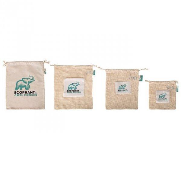 ECOPHANT Zestaw wielorazowych ekologicznych woreczków na produkty spożywcze 7szt.