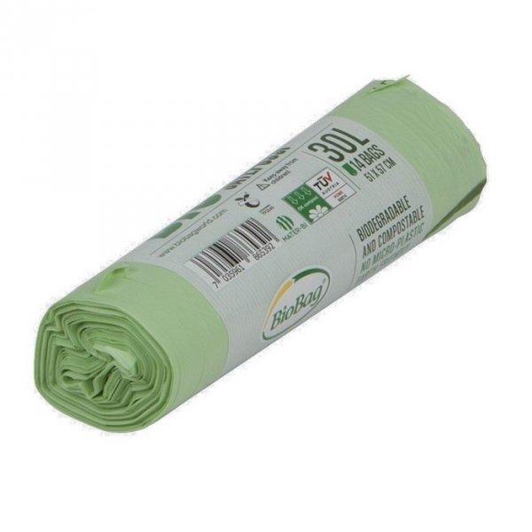 BioBag Worki na odpady organiczne i zmieszane w 100% biodegradowalne i kompostowalne 30L rolka 14 sztuk