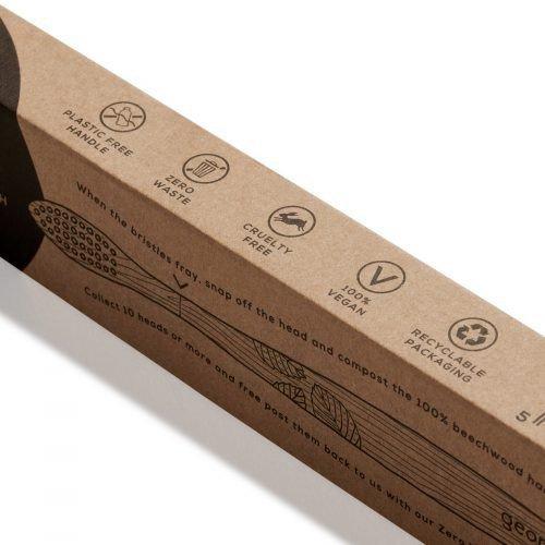 GEORGANICS Ekologiczna szczoteczka z drewna bukowego nasączona aktywnym węglem SOFT miękka