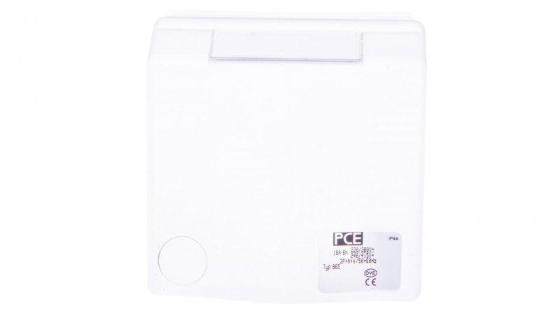 Gniazdo natynkowe przelotowe 16A 5P 400V białe IP44 DESIGN 865-6v