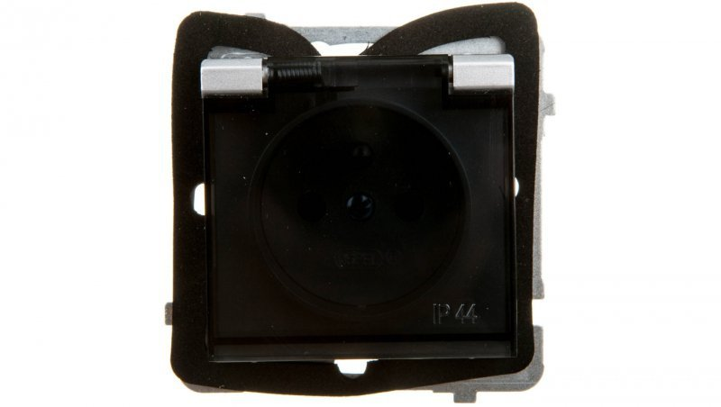 SONATA Gniazdo bryzgoszczelne z/u IP44 klapka przezroczysta srebro mat GPH-1RZ/m/38/d