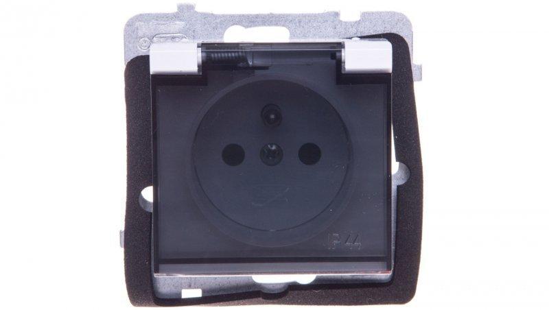 SONATA Gniazdo bryzgoszczelne z/u IP44 z przesłonami klapka przezroczysta białe GPH-1RZP/m/00/d