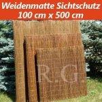 Weidenmatte Sichtschutz Rollzaun 100 cm x 500 cm