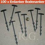 100 Erdanker Bodenanker für Unkrautvlies Gartenfolie 14,5 cm