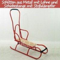 Schlitten aus Metall mit Rückenlehne Schiebestange und Stoßdämpfer rot