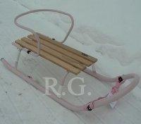 Schlitten aus Metall mit Rückenlehne ohne Schiebestange in rosa