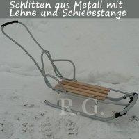 Schlitten aus Metall mit Rückenlehne Schiebestange in silber