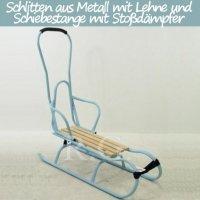 Schlitten aus Metall mit Rückenlehne Schiebestange und Stoßdämpfer himmelblau