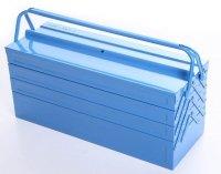 Werkzeugkoffer Werkzeugkasten Stahlblech 530mm 7 Fächer blau
