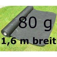 Gartenvlies Unkrautvlies 80g 1,6m 1 lfm