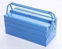 Werkzeugkoffer Werkzeugkasten Stahlblech 530mm 5 Fächer blau