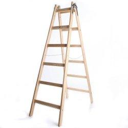 Leiter Holzleiter Klappleiter Haushaltsleiter 6 Stufen Premium