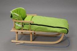 Holzschlitten mit Rückenlehne Winterfußsack 108cm Grün