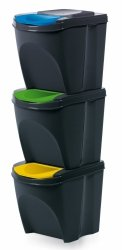 Mülleimer Abfalleimer Mülltrennsystem 3x25L Box Anthrazit
