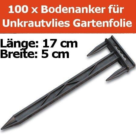 100 XXL Erdanker Bodenanker für Unkrautvlies Gartenfolie