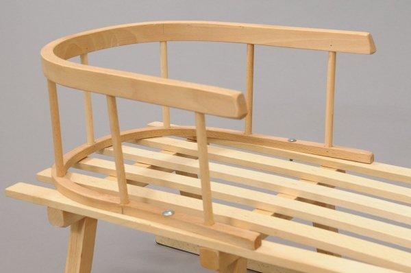 Holzschlitten mit Rückenlehne Winterfußsack 90cm Grau