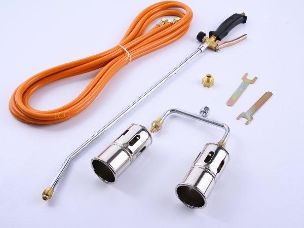 Gasbrenner Unkrautvernichter Gaslötgerät Dachbrenner 2 Flammen + Adapter
