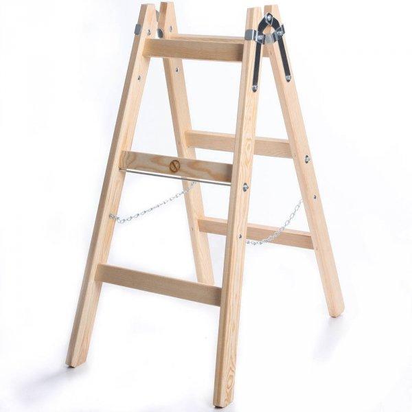 Leiter Holzleiter Klappleiter Haushaltsleiter 3 Stufen Premium