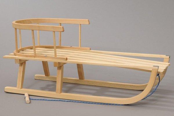 Holzschlitten mit Rückenlehne Winterfußsack 90cm Schwarz