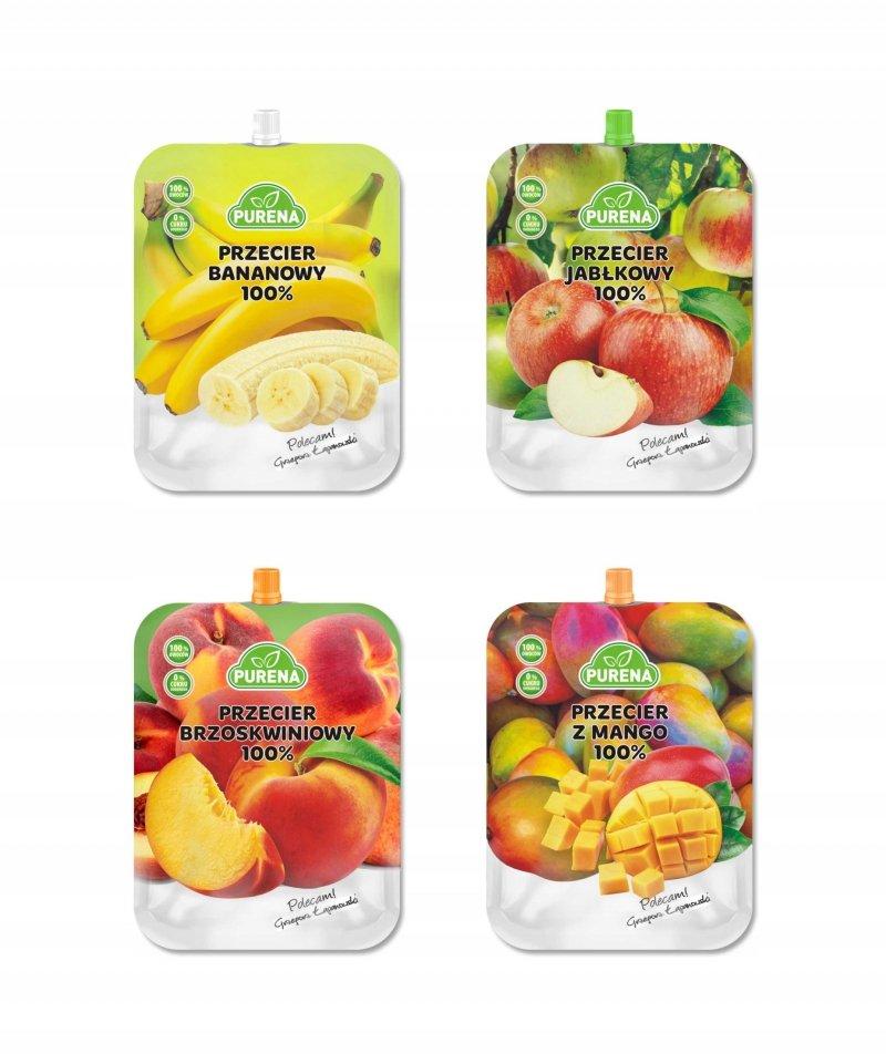 Przeciery (musy) owocowe 100%  350g x 4szt mix