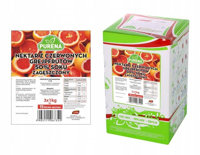 Nektar z czerwonych grejpfrutów 50% zagęszczony 15l/3kg