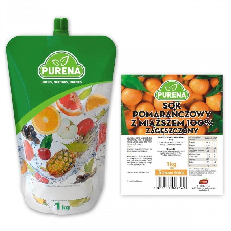 Sok pomarańczowy z miąższem 100% zagęszczony 5l/1kg
