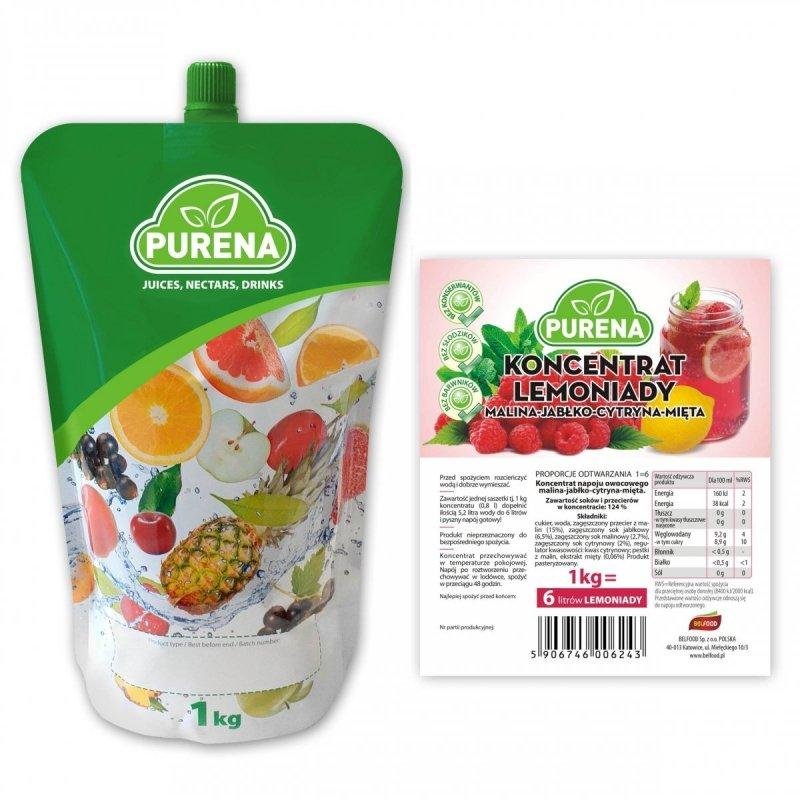 Lemoniada malina-cytryna-mięta koncentrat 6l/1kg