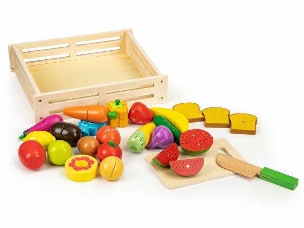 Holzgemüse und Obst zum Schneiden von 20 Stück + Karton